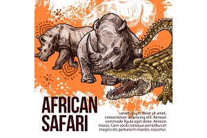 African Safari wild animals vector