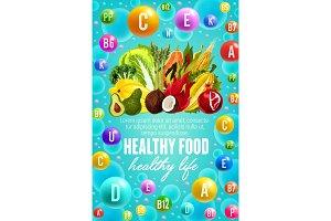 Vitamins in vegetables, fruits, nuts
