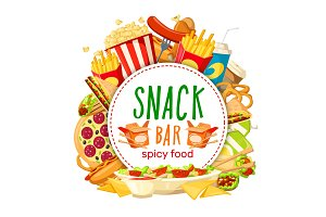 Fast food snack bar vector poster