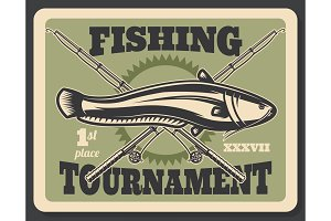 Fishing tournament fish and rods