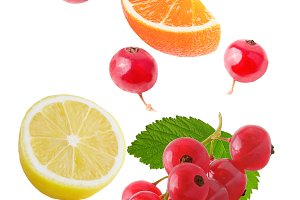 Flying various fruits isolated on