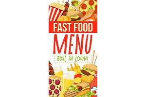 Fast food menu with burger, desserts