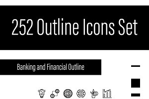 252 Outline Perfect Pixcel Icons Set