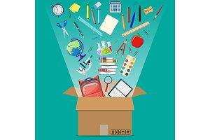 School items and cardboard box.