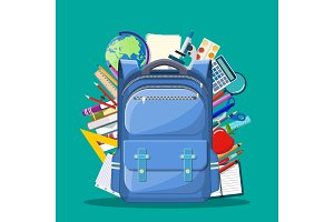 School backpack with books,