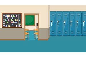 empty school interior,open door in