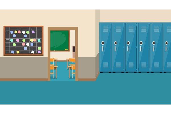 Empty School Interior Open Door In Pre Designed Vector Graphics Creative Market