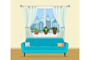 Sofa with pillows and window with