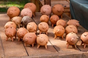 piggy banks on old wood
