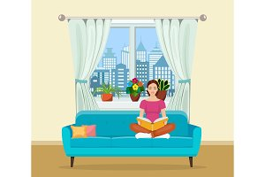 Young woman relaxing on sofa reading