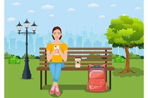 Young woman relaxing on bench with