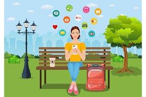 Social media addiction banner.