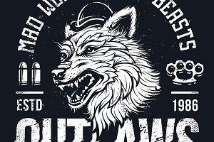 Ghetto Outlaws | Grunge Wolf Art