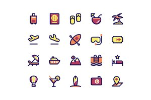 Travel Filled Line Icons