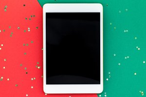 New Year or Christmas tablet mockup
