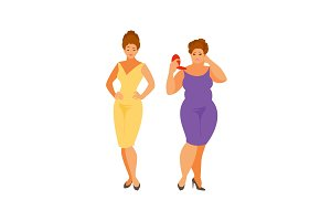 Slim and thick women vector