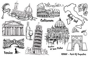 Big Italy Vector Sketch Collection!
