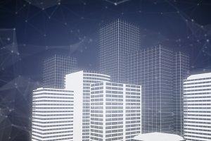 Composite image of buildings 3d