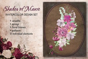 """Shades of mauve"" watercolor bundle"