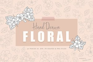 30 Hand Drawn Floral Elements