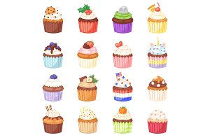 Cupcake vector muffin and sweet cake