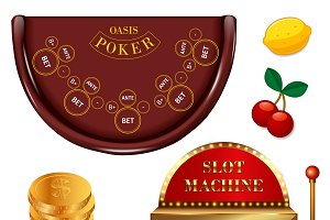 Realistic Casino Online Games Set