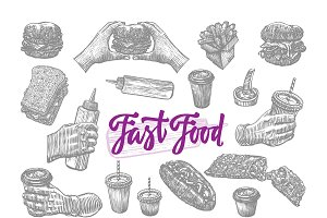 Sketch Fast Food Elements Set