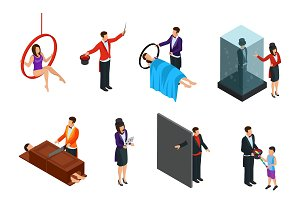 Isometric Magic Illusion Icons Set
