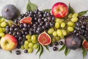 Banner of fresh autumn fruits