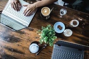 Digital nomads working in a café