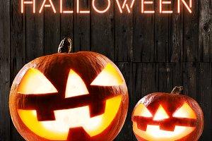 Halloween glowing pumpkins
