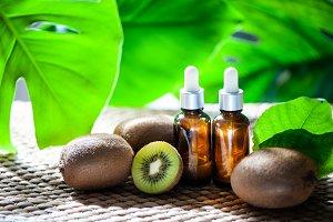 Bottles with  kiwi oil