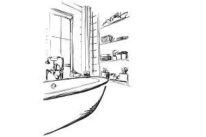 Hand drawn Bathroom. Home furniture