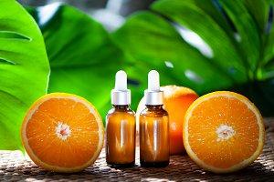 Bottles with orange oil