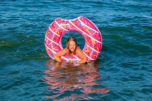 girl with an inflatable ring in the