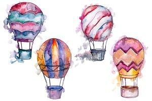 Watercolor pink hot air balloon PNG