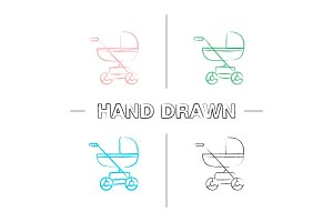 Baby carriage hand drawn icons set