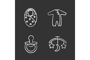 Childcare chalk icons set