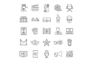 Cinema linear icons set
