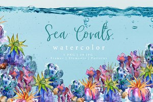 Sea corals watercolor PNG set