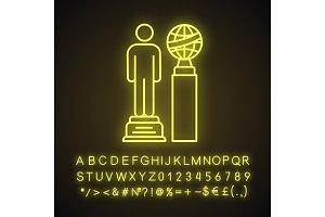 Movie award neon light icon