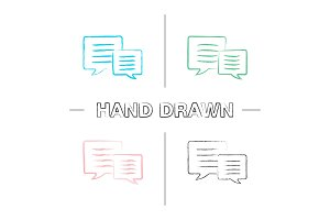 Speech bubbles hand drawn icons set