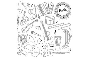 Continuous line drawing of Musical