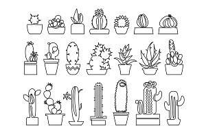 Continuous line drawing of Cactus