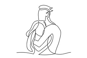 Continuous line drawing of couple