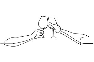 Continuous line drawing two glasses