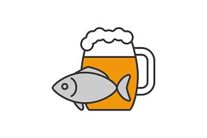 Beer mug with salty fish color icon