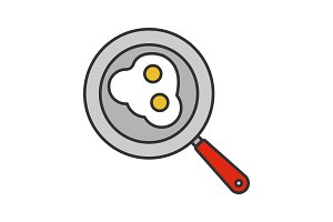 Fried eggs on pan color icon