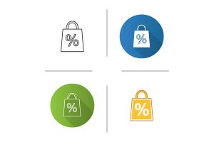 Shopping bag with percent icon