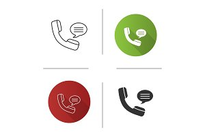 Handset with speech bubble icon